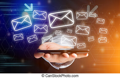 Concept of sending message with smartphone with email icon...