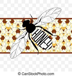 Illustration  label on honey the bee with honeycombs