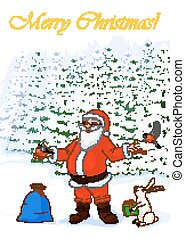 Vector Illustration post card Merry Christmas of jolly Santa Claus in the winter forest with bullfinch, hare with box and bag full of gifts