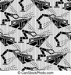 Abstract constructionism seamless pattern automobile production