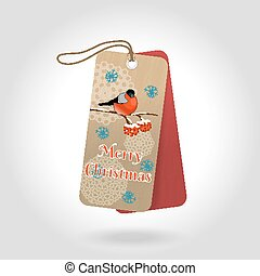 Vector cute Merry Christmas gift tags with bullfinch sitting on a Rowan branch and decoration snowflakes