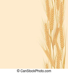 Ears of wheat vertical border seamless pattern for banners