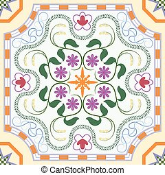 Seamless pattern with chinese ornament floral