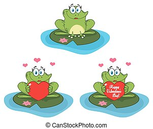 Cute Frog Cartoon Mascot Character. Collection