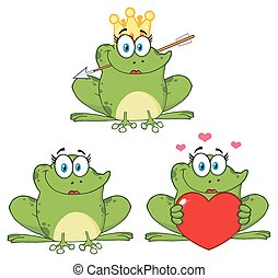 Princess Frog Cartoon Mascot Character 1. Collection Set