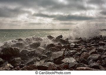 Powerful Waves on a rocky beach