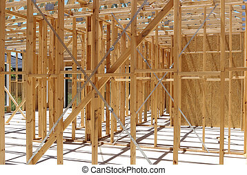 Wall framing in house construction