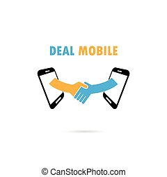 Business people handshake through mobile phone. Businesspeople shaking hands online.Businessmen deal business handshake concept