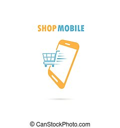 Mobile phone with online shopping application.Internet...