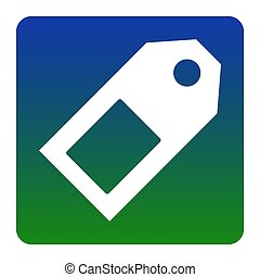 Price tag sign. Vector. White icon at green-blue gradient square with rounded corners on white background. Isolated.