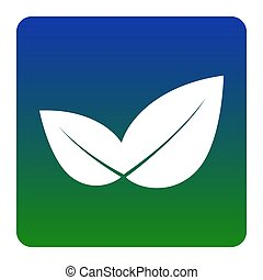Leaf sign illustration. Vector. White icon at green-blue gradient square with rounded corners on white background. Isolated.