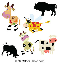 vector illustration of the cow on white background