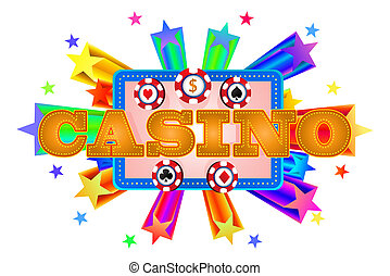 casino banner on isolated white background - illustration of...