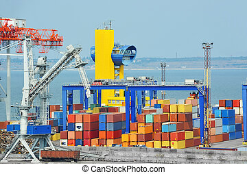 Port cargo crane and container, ready for shipment