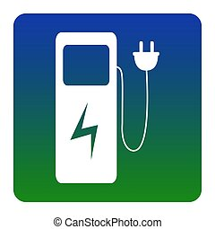 Electric car charging station sign. Vector. White icon at...