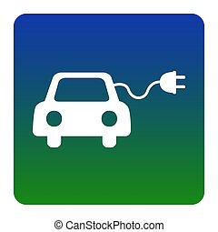 Eco electric car sign. Vector. White icon at green-blue...