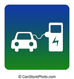 Electric car battery charging sign. Vector. White icon at...
