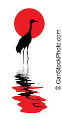 crane amongst water vector