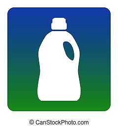 Plastic bottle for cleaning. Vector. White icon at...