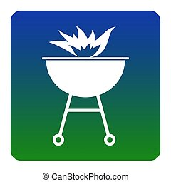 Barbecue with fire sign. Vector. White icon at green-blue...