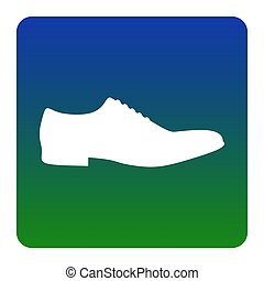 Men Shoes sign. Vector. White icon at green-blue gradient square with rounded corners on white background. Isolated.