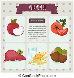 Vitamin B1 on black background. Vector illustration eps 10. Fruit and vegetables with vitamin B1 info graphics set.
