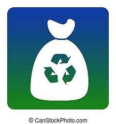 Trash bag icon. Vector. White icon at green-blue gradient...
