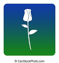 Rose sign illustration. Vector. White icon at green-blue gradient square with rounded corners on white background. Isolated.