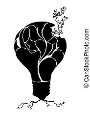 vector drawing plant in light bulb