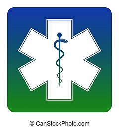 Medical symbol of the Emergency or Star of Life. Vector. White icon at green-blue gradient square with rounded corners on white background. Isolated.