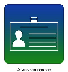 Identification card sign. Vector. White icon at green-blue gradient square with rounded corners on white background. Isolated.
