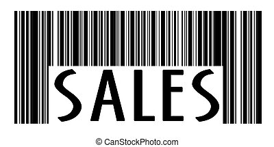 Concept of barcode with sales text printed on it - Concept...