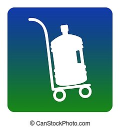 Plastic bottle silhouette with water. Big bottle of water on track. Vector. White icon at green-blue gradient square with rounded corners on white background. Isolated.
