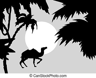 vector  tropical landscape with palm on foregrounds
