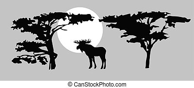 vector  drawing moose on background sun