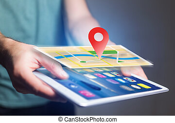 Concept of geographical localization on a map with a tablet...
