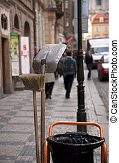 Street cleaner tools - shovel and broom
