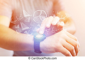Concept of business icon going out a technology watch -...