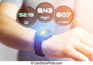 Running interface on a sport smartwatch with data...