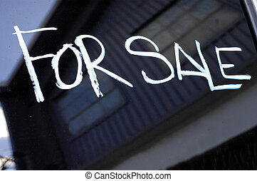 Recession Image of For Sale Sign Near a Boarded Up,...