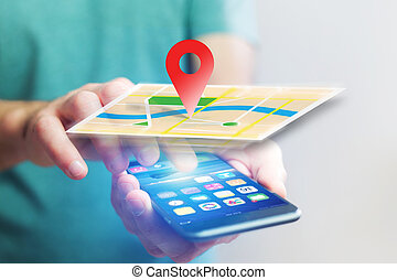 Concept of localization on a map with a smartphone - Concept...