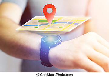Concept of localization on a map with a smartwatch - Concept...