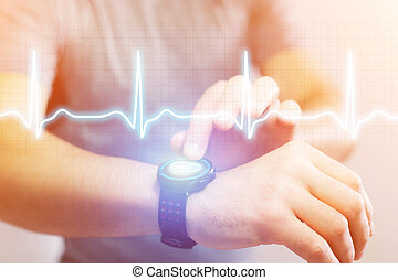 Heart beatment analysing with a smartwatch app interface -...