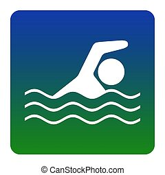 Swimming water sport sign. Vector. White icon at green-blue...