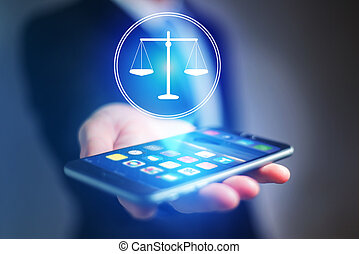 Businessman hand holding mobile phone with justice icon -...