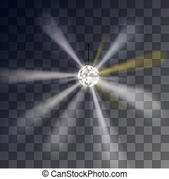 Vector Disco ball showy rays on a transparent background