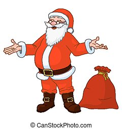 Vector Illustration of jolly plump Santa Claus with divorced...