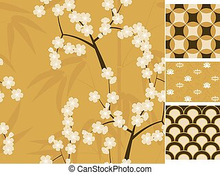 Japanese vector seamless patterns set with bamboo, sakura and traditional ornaments illustration