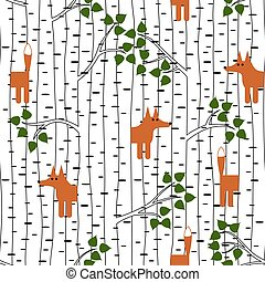 Seamless pattern with fox in forest - Seamless pattern with...