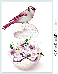 Happy Easter card with bird sitting on a cracked egg and...